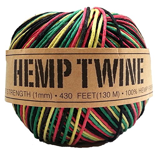 100% Hemp Twine, 1mm, Rasta