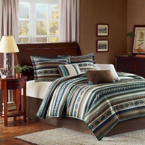Southwest Queen 7 Piece Comforter Set Blue,Chocalate & Ivory front-1020192