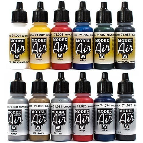 Arographe-Couleurs-12-x-17-ml-Couleurs-Vallejo-Model-Air-Base-mtallique-Kit-arographe-Couleurs