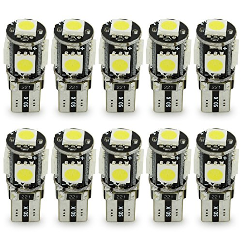 Safego T10 Canbus LED White Car Light Bulbs T10 W5w 5 SMD 5050 Super Bright 194 168 2825 Wedge LED Car Lights Source Replacement Bulbs Side Map Interior Lamps Pack of 10 Canbus-T10-5SMD-50W-10