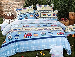 LELVA Cartoon Train Bedding Set, Children\'s Duvet Cover Set, Kids Bedding Boys, Baby Bedding Set, Twin Full Queen Size (Fitted Sheet, Full)