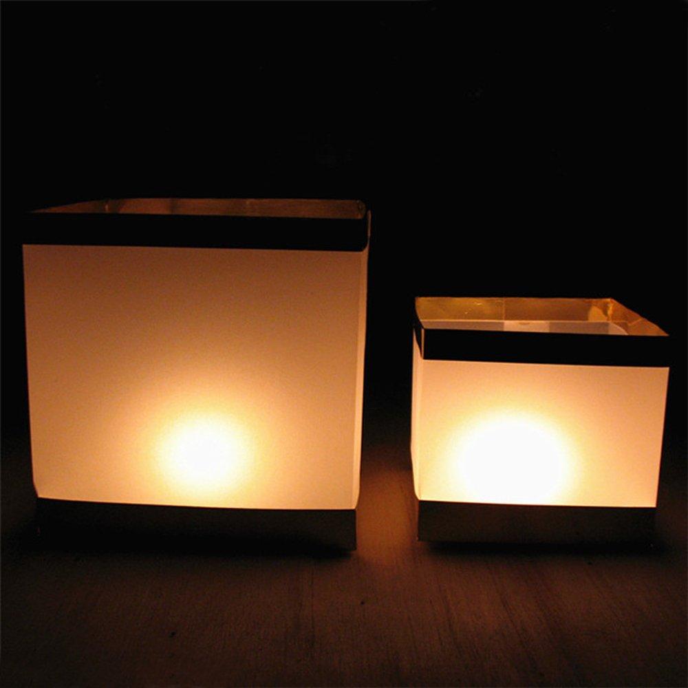 Ecape 5.9 Inch Water Floating Candle Lanterns Paper Lanterns for Wishing Praying Floating Square Water Lanterns Pack of 10