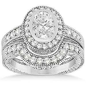 Allurez - Halo Diamant-Verlobungsring & Band Platinum Bridal Set (0.64ct)