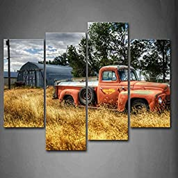First Wall Art® - Car In Red Trees And Dry Grasses In Field Wall Art Painting Pictures Print On Canvas Car The Picture For Home Modern Decoration