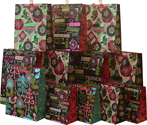 Gift bag set; Christmas designs; vivid colors with hot stamp accents; set of 12 bags in assorted size variety pack