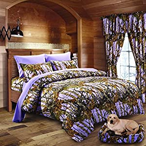 20 Lakes Woodland Hunter Camo Comforter, Sheet, & Pillowcase Set (Queen, Purple)