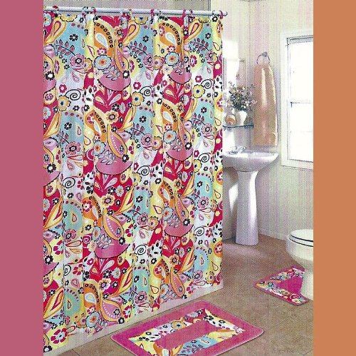 PINK FOREST 15-Piece Bathroom Set: 2-Rugs/Mats, 1-Fabric Shower Curtain, 12-Fabric Covered Rings.
