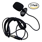 HUACAM YYPJ-01-1 3.5mm Hands Free Computer Clip on Mini Lapel Microphone (3 X Lapel Microphone)