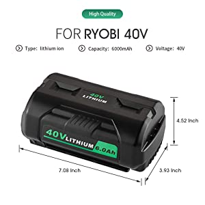 Jialitt 40V 6000mAh Battery Replacement for Ryobi 40V Collection Cordless Power Tools Lithium-Ion Battery OP4026A OP4050A OP4040 OP40201 OP40261 OP4030 W/Fuel Gauge (Color: Black)