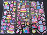 3 x sheets set#2 colourful happy birthday cake bows cute cats girly 3D style decal re-usable stickers for Craft Kids Scrap Books Birthday Cards - By Fat-Catz