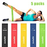 Letsfit Resistance Loop Bands, Resistance Exercise Bands for Home Fitness, Stretching, Strength Training, Physical Therapy, Natural Latex Workout Bands with Exercise Guide and Carry Bag, Set of 5 (Color: Black Blue Yellow Green Red, Tamaño: 12