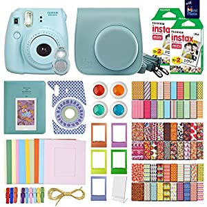 FujiFilm Instax Mini 8 Camera Blue + 40 Instax Film + MiniMate® Accessory Bundle. Kit includes: Case, Frames, 64 page Photo Album, Selfie Lens, Colored Filters and more