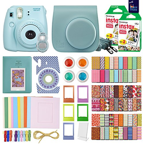 FujiFilm Instax Mini 8 Camera Blue + 40 Instax Film + MiniMate® Accessory Bundle. Kit includes: Case, Frames, 64 page Photo Album, Selfie Lens, Colored Filters and more (Fujitsu Polaroid Film compare prices)