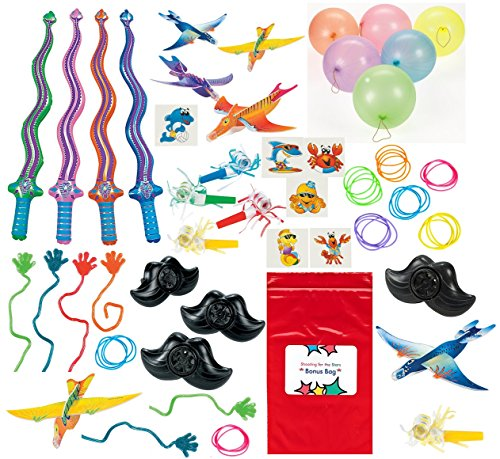 toy-assortment-130-pc-boys-and-girls-dinosaur-airplanes-punch-balls-sticky-hands-swords-tattoos-brac