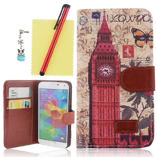 Ancerson New Fashion Retro Big Ben Butterfly Magnetic Magnet Buckle Pu Leather Protective Flip Case Cover Shell Skin With Credit/ Id Card Slots Holes Wallet Slip Stand For Samsung Galaxy S5/ Gs 5 V I9600 At&T G900A/ Sprint G900P/ Verizon G900V/ T-Mobile G