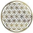 4 x Blume des Lebens - Aufkleber GOLD gepr�gt 3cm