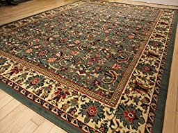 New Green Persian Tabriz Design 8x10 Area Rug Large 8x11 Living Room Rugs Green (Large 8\'x11\' Rug)