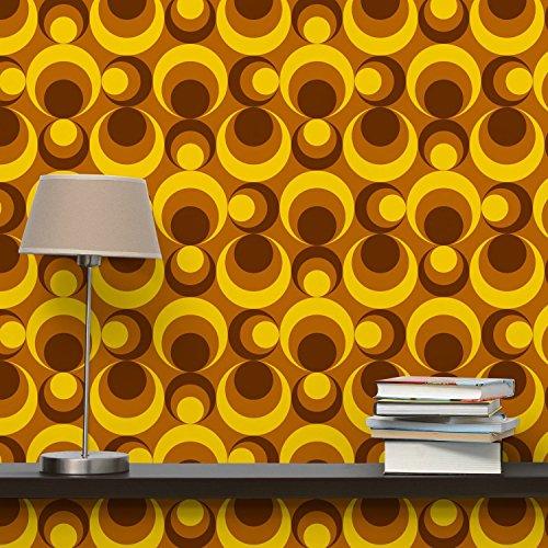 Fotomurale Premium Retro Wallpaper - 70s Circle Wallpaper yellow brown - Carta da Parati Quadrato Fotomurali Fotomurale tappezzeria stoffa da parati 3D design moderna carta da parati
