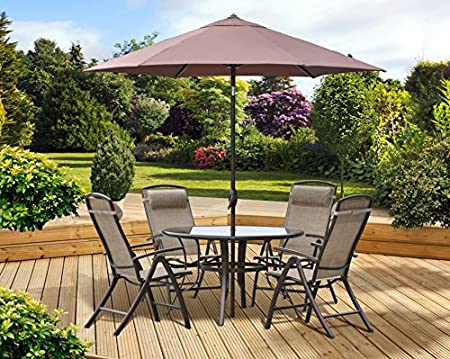 Pagoda Rio Textilene Round Glass Table 4 Seat/Chairs Patio Dining Set with Parasol