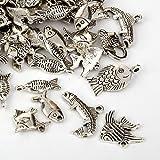 50 pcs of Mixed Tibetan Style Alloy Fish, Starfish, Octopus, Sea Shells, Sea Turtles, Marine Animal Pendants