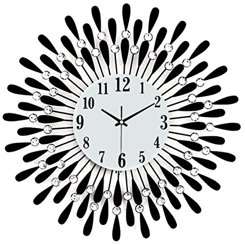 Outgeek Modern Wall Clock Rural Wrought Iron Diamante Large Living Room Mute Quartz Clock (Big Wrought Iron Clock compare prices)