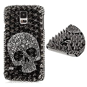 DYNBOSE 3D Handmade Crystal Sparkling Skull Black Rhinestone Diamond Bling Cover Case for Samsung Galaxy S5 I9600 SM-G900 Case Back Cover Pouch Shell Wallet