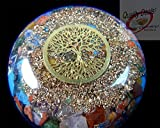 Charged Chakra Orgonite Orgone Dome Disk with Reiki Tree symbol 2 1/2 inches Gemstones Copper Metal Mix Reiki Chakra