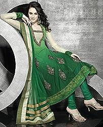 Aayushman Womens Net Anarkali Semi-Stitched Dress Material (Sd-816 _Shaded Green)