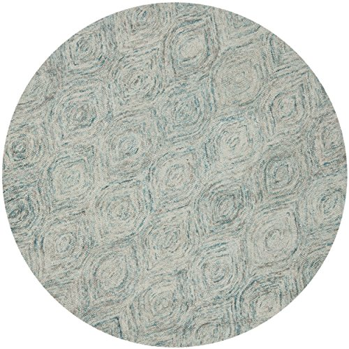 Safavieh Ikat Collection IKT631A Handmade Ivory and Sea Blue Wool Round Area Rug, 4 feet in Diameter (4' Diameter)