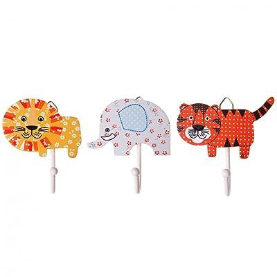 Childrens Set of 3 Jungle Animal Coat Hooks; Lion, Elephant, Tiger