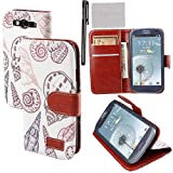 Xhorizon® New Floral Leaf Style Wallet Folio Flip Magnet Stand Leather Case Cover with Credit Card Holder for Samsung Galaxy S3 SIII i9300 w/ stylus and cleaning cloth
