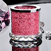 "1pc Pink Crystal Glass Candle Holder Candlestick Romantic Wedding Dinner Decor (1.57*2.7"")"