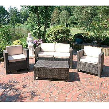 Lounge-Set 4-tlg. in coffee Gartenmöbel Gartenstuhl Gartentisch Terassenmöbel