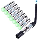 CHINLY 8pcs 2.4G DMX 512 Wireless 1 Male Transmitter & 7 Female Receivers for Stage PAR Party Light