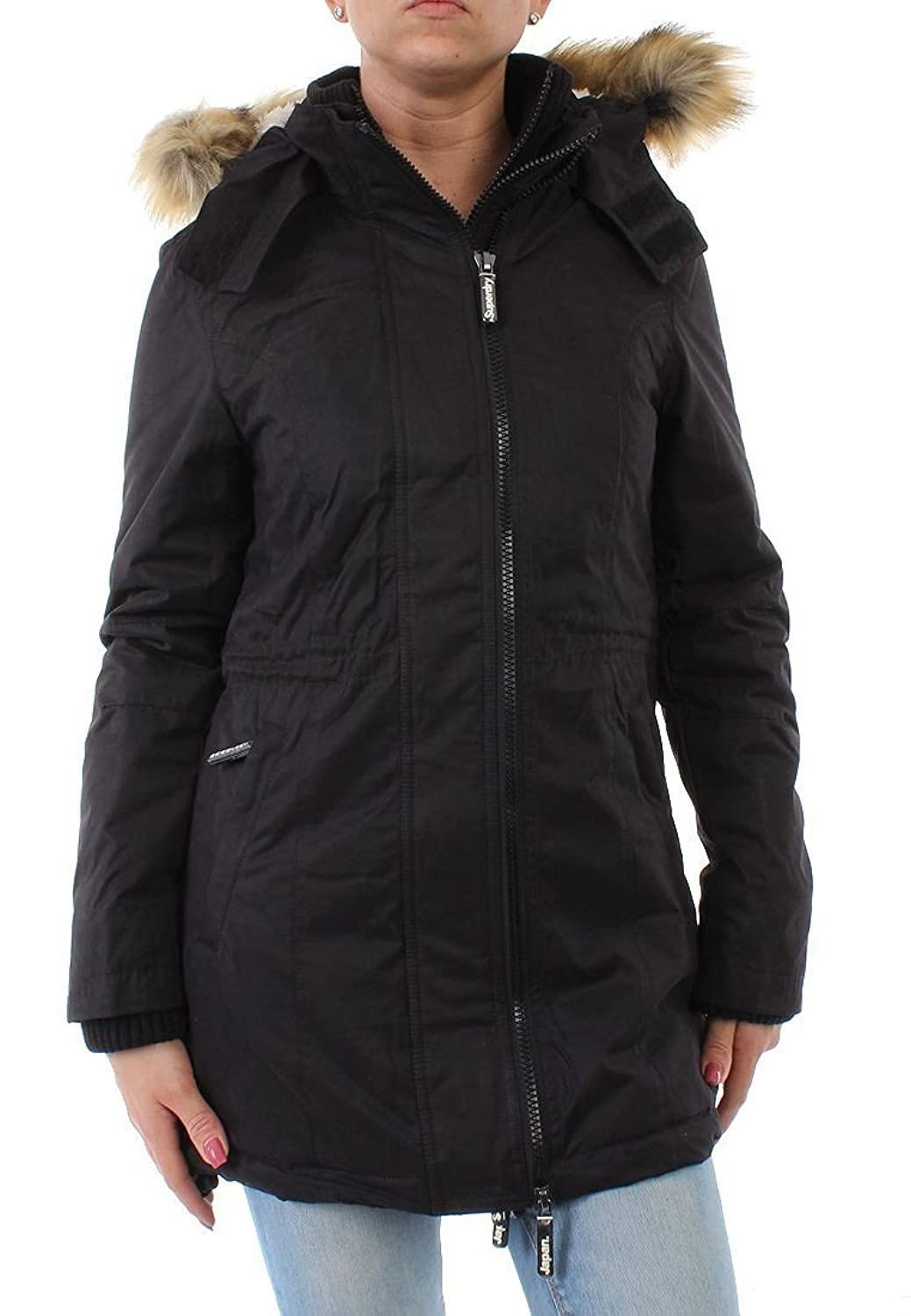 Superdry Mantel Women MICROFIBRE TALL WINDPARKA Black