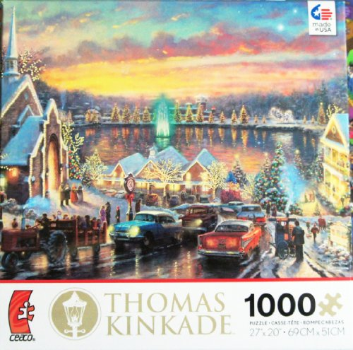 Thomas Kinkade Painter of Light The Lights of Christmastown 1000 Piece JIGSAW Puzzle MADE IN USA