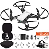Tello Quadcopter Drone with HD Camera and VR Powered by DJI Technology Fun Flight Bundle with Carry Case, Spare Battery and VR Goggles Headset (Tamaño: Deluxe Bundle with Extra Battery)