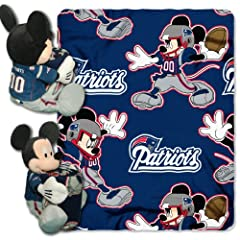 NFL New England Patriots Mickey Mouse Pillow with Fleece Throw Blanket Set by Northwest