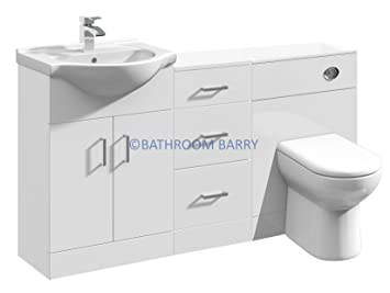 1400mm Modular High Gloss White Bathroom Combination Vanity Basin Sink Cabinet, Three Drawer Cupboard, WC Toilet Furniture & BTW Pan