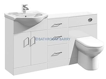 1400mm Modular High Gloss White Bathroom Combination Vanity Basin Sink Cabinet, Three Drawer Cupboard, WC Toilet Furniture & BTW Pan