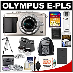 Olympus PEN E-PL5 16.1 MP Digital Camera Body & 14-42mm II R Lens (Silver) with 32GB Card + Battery + Backpack + 3 Filters + Lens Set + Tripod + Accessory Kit