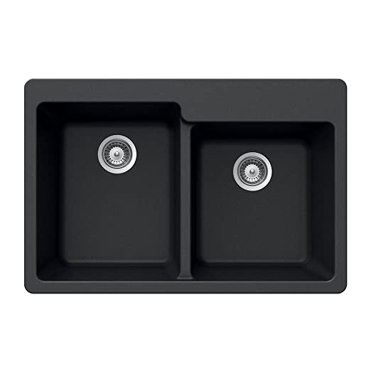 Houzer M-175 MIDNITE Quartztone Series Granite Top Mount 60/40 Double Bowl Kitchen Sink, Black