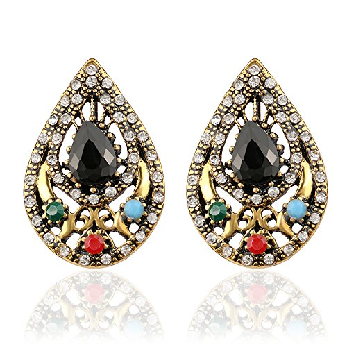 [Lemonstraw The queen of fashion models love golden drop shaped hollow colorful gems retro Earrings] (India National Costume For Male Kids)
