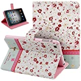 Case for iPad Mini,Cover for iPad Mini,Case for ipad Mini with Retina Display,Leather Case for iPad Mini,Flip Case for iPad Mini, Nsstar™ Butterfly Fairy and Flower Inlaid Shiny Glitter Diamond Pu Leather Flip Protective Case Cover with Stand for Apple Ipad Mini / Ipad Mini 2 / Ipad Mini with Retina Display with 1pcs Free Cup Mat Color Ramdon (Mini Flower #3)