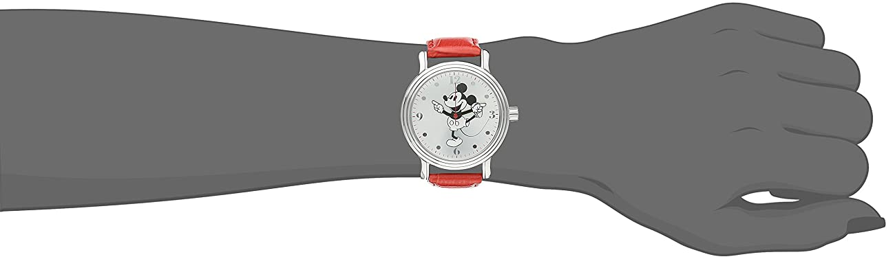 Disney Women's W001866 Mickey Mouse Silver-Tone Watch with Red Faux Leather Band 1