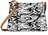 Snoogg White Leaf Pattern Designer Womens Carry Around Sling Bags