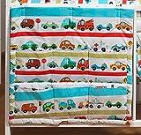 Coffre avec les poches env.60x60 parure de lit literie pour bébé enfant (dessin: petites voitures)...