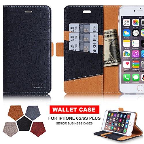 iPhone6s ケース iPhone6ケース ,Fyy® [高級感抜群] クロコダイル柄 横開き 手帳型 二つ折り カードホルダー付き スタンド機能 マグネット開閉 保護カバー ブラック
