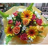 【 花想久里 はなおくり ビタミンカラ- の オレンジブーケ 生花 】 恋人の日 ボスデー フラワーギフト に オレンジ 薔薇 ガーベラ など 元気の出る 明るい色 が 魅力 人気 の 花束 5