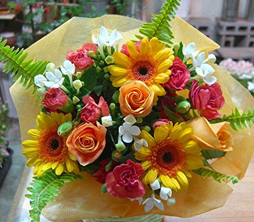 【 花想久里 はなおくり ビタミンカラ- の オレンジブーケ 生花 】 いい夫婦の日 花束 の フラワーギフト オレンジ薔薇 ガーベラ など 元気の出る 明るい色 が 魅力 人気 の 花束